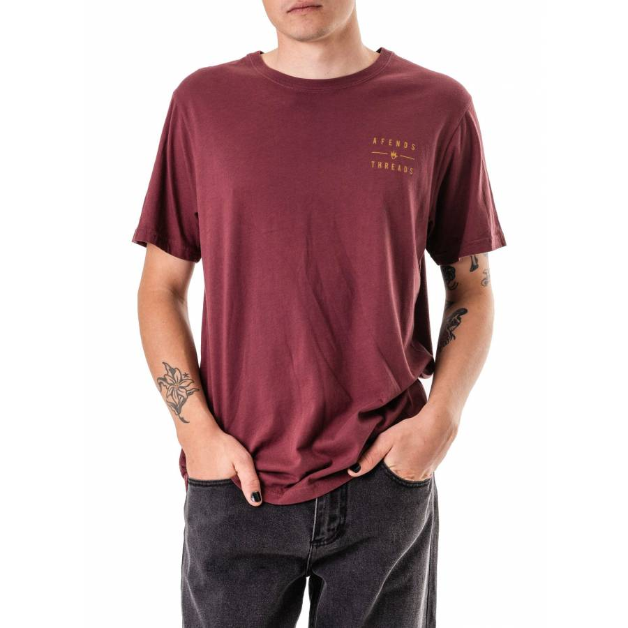 Afends Company Tee - Oxblood