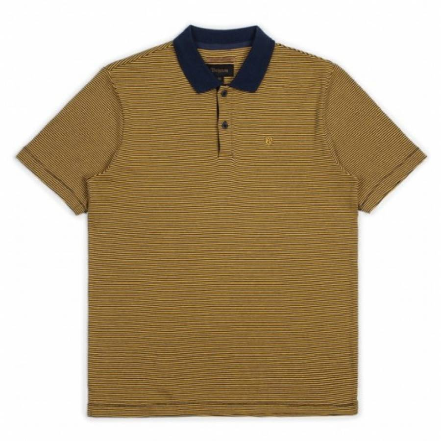 Brixton Johnston Polo Knit Tee - Navy / Gold