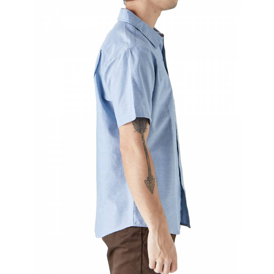 Brixton Charter Oxford S/S Woven Shirt - Light Blue Chambray