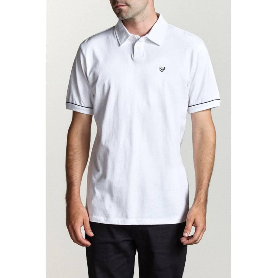 Brixton Carlos S/S Polo Knit Tee -  White / Black