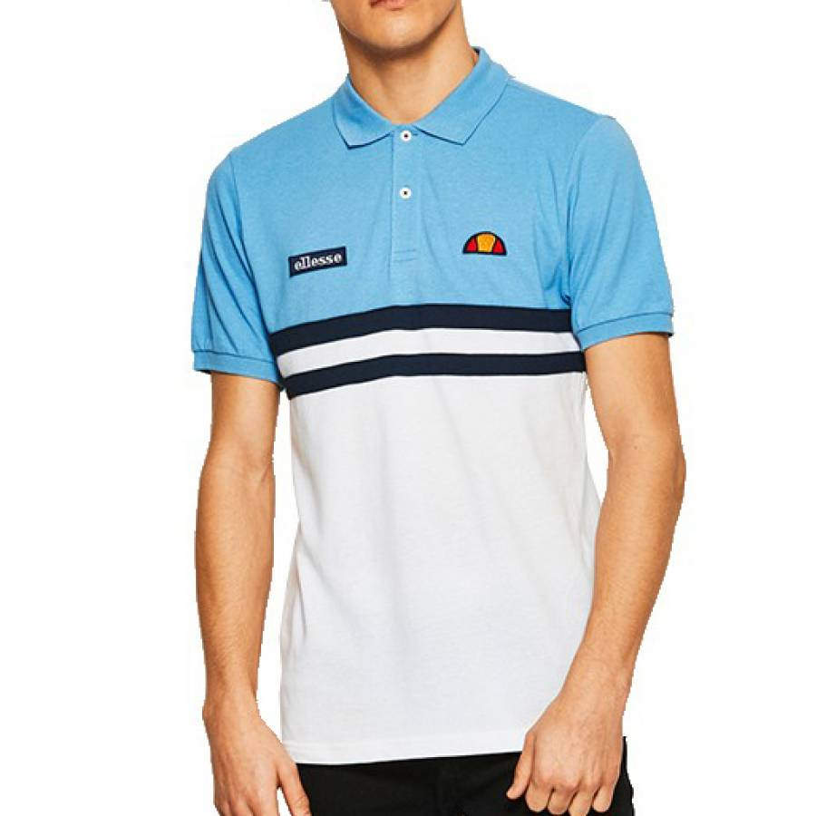 Ellesse Timini Polo - White/Silver Lake Blue