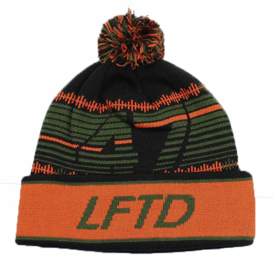 LRG 47 Pom Cuff Beanie Hat - Green/Orange/Black