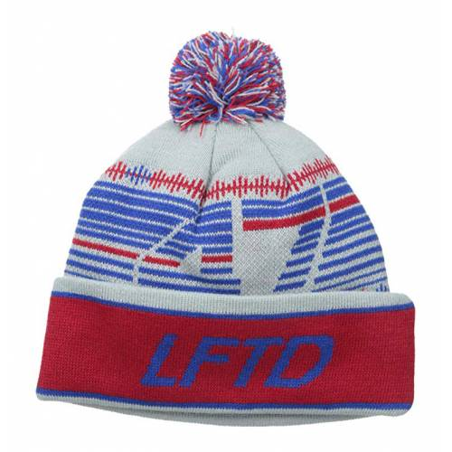 LRG 47 Pom Cuff Beanie Hat - Gray/Blue/Red