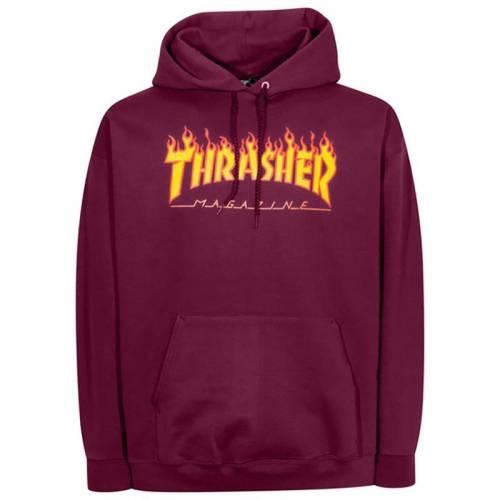 Thrasher Flame Logo Hood Sweat - Marron