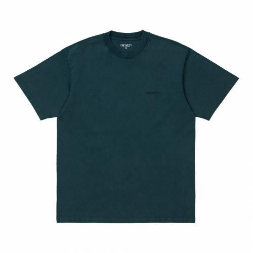 Carhartt S/S Mosby Script T-shirt - Deep Lagoon acid Wash