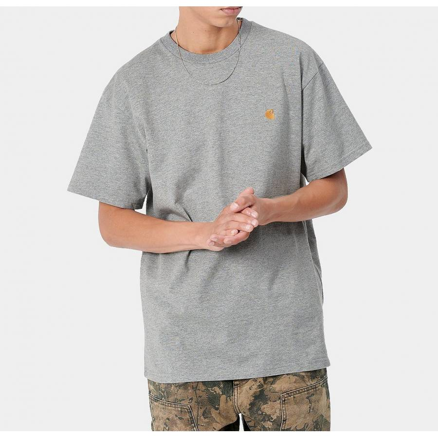 Carhartt S/S Chase T-shirt - Grey Heather / Gold
