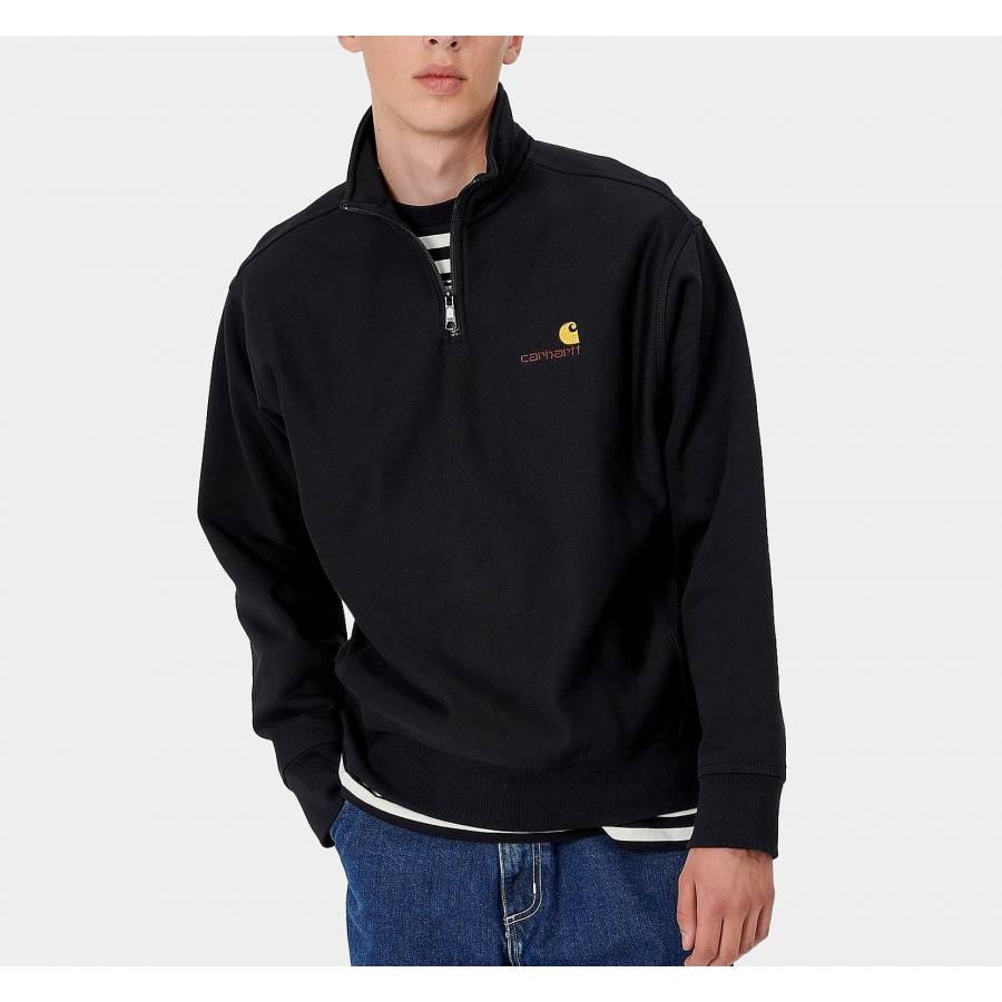 Carhartt Half Zip American Script Sweatshirt - Bla...