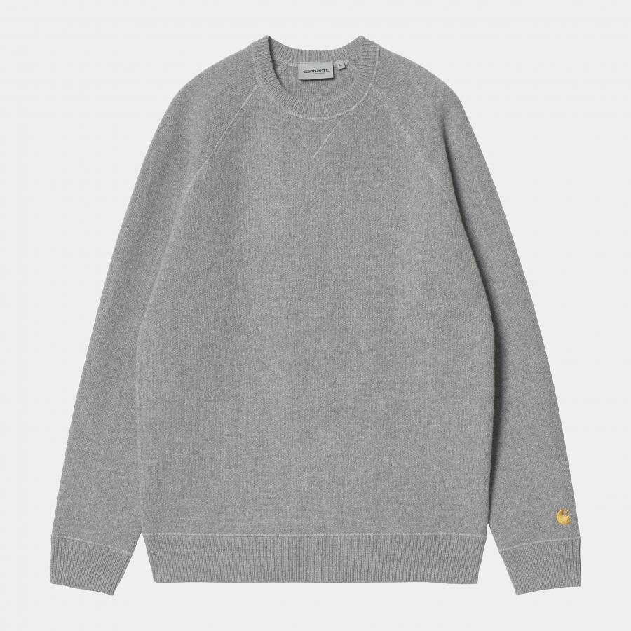 Carhartt Chase Sweater - Grey Heather / Gold