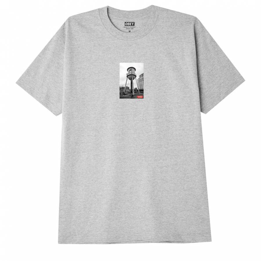 Obey Icon Water Tower Photo Classic T-shirt - Heat...