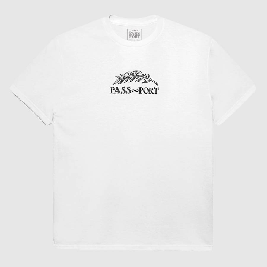 Passport Quill Embroidery Tee - White