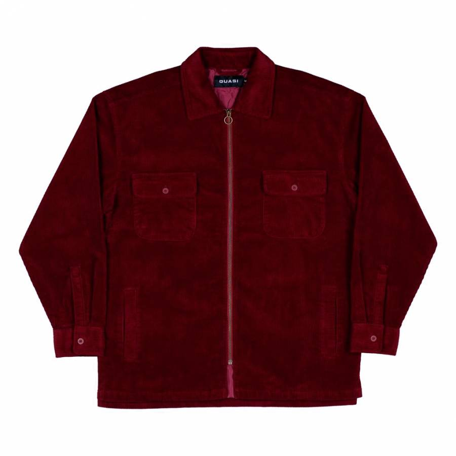 Quasi Corduroy Shirt Jacket - Burgundy