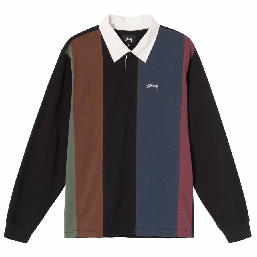 Stussy Vert Stripe LS Rugby Polo - Black