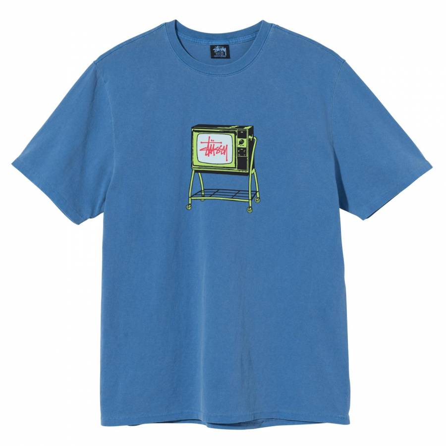Stussy Rolling TV Pigment Dyed Tee - Blue