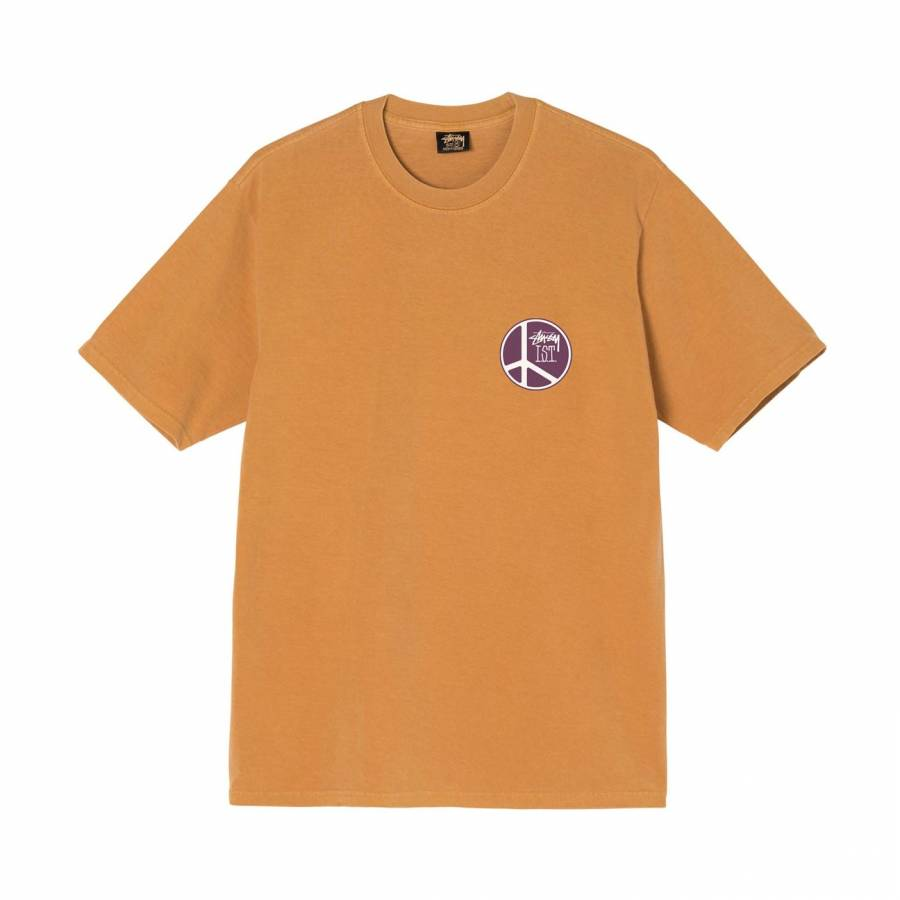 Stussy Peace Dot Pigment Dyed Tee - Copper