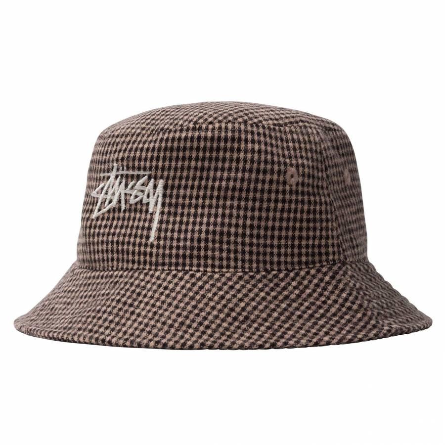 Stussy Wool Check Big Stock Bucket Hat - Brown