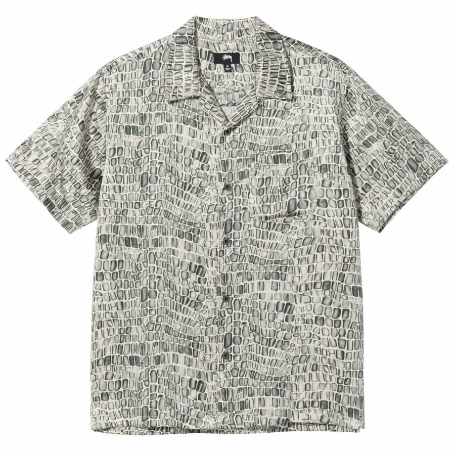 Stussy Croc Pattern Silk Shirt - Tan