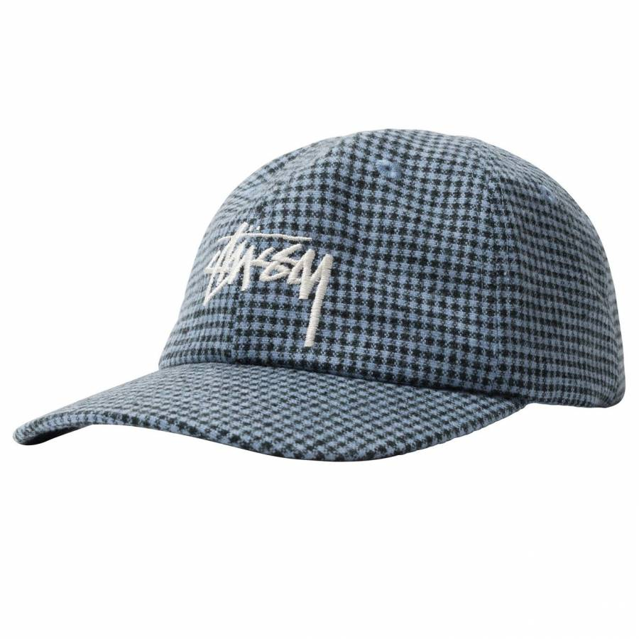 Stussy Wool Check Big Stock Low Pro Cap - Charcoal
