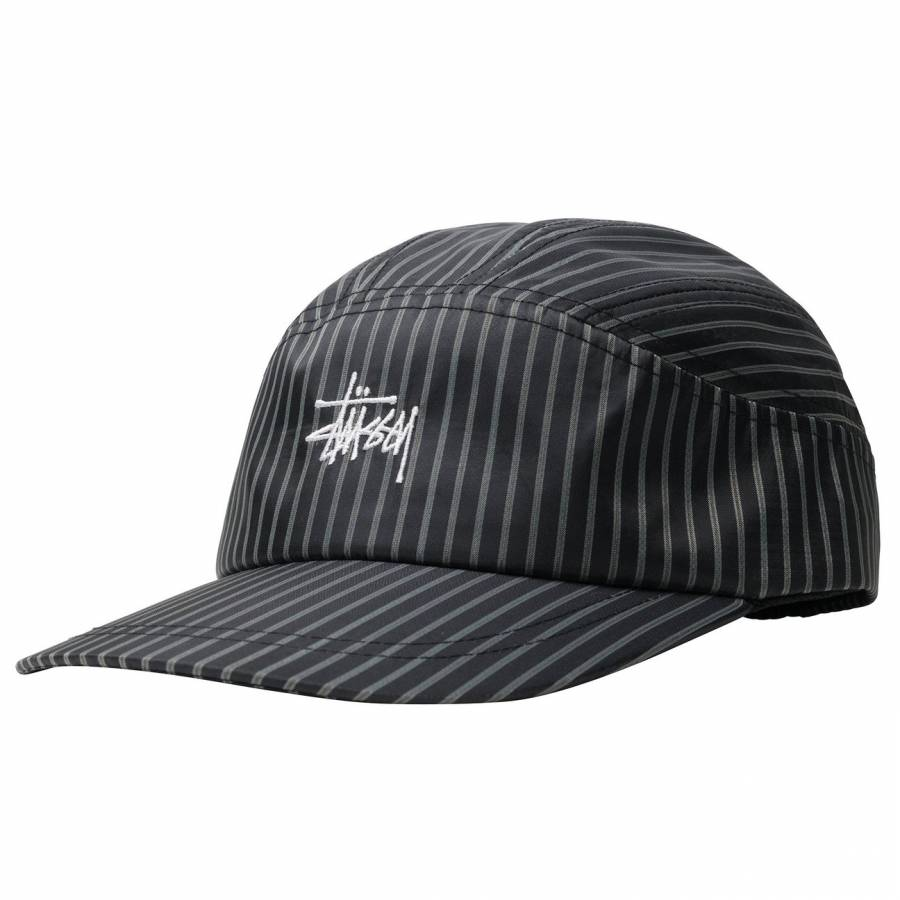 Stussy Shirting Stripe Runner Cap - Black