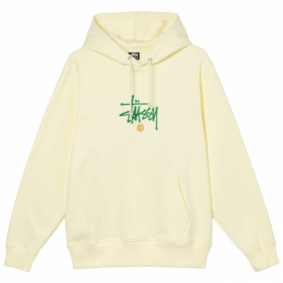 Stussy Copyright Embroidered Hoodie - Pale Yellow