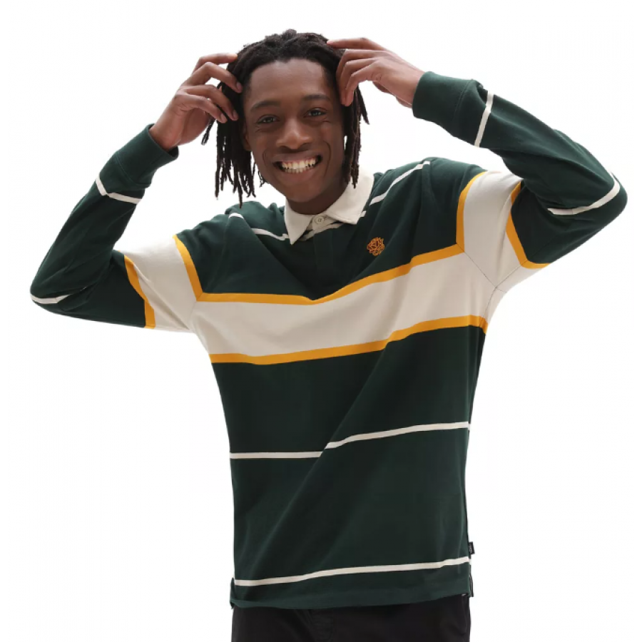 Vans 66 Champs Rugby Long Sleeve Polo - Scarab