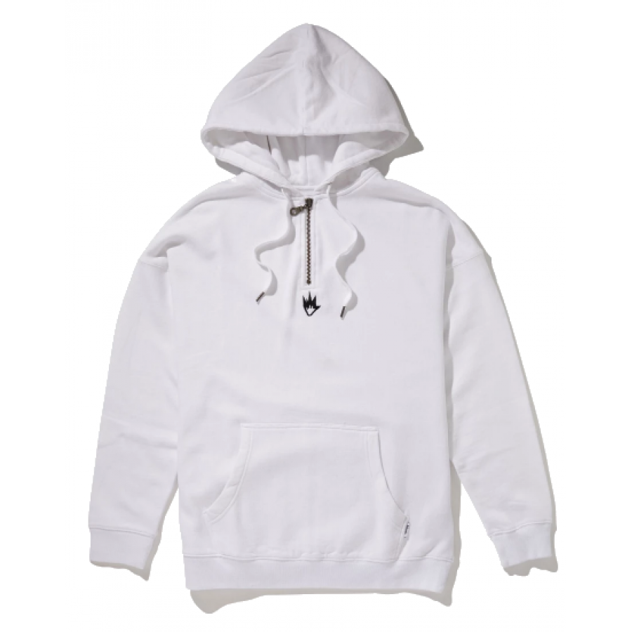 Afends Contrast Half Zip Pull On Hood - White