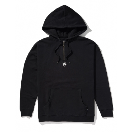 Afends Contrast Half Zip Pull On Hood - Black