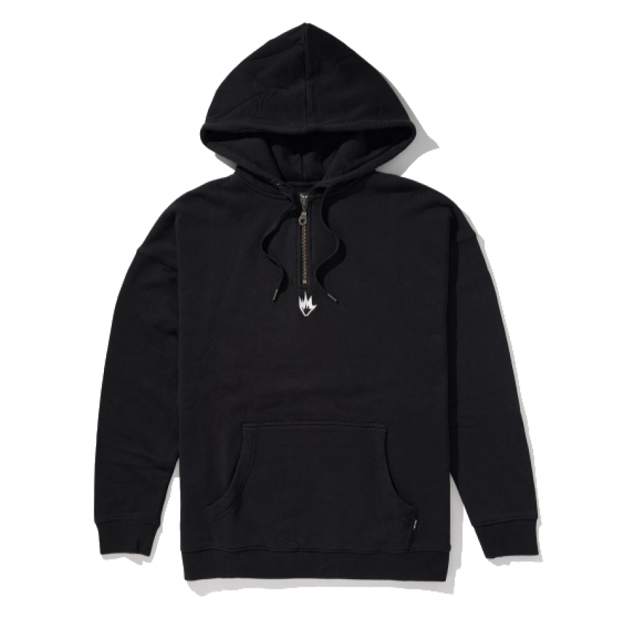 Afends Contrast Half Zip Pull On Hood - Black
