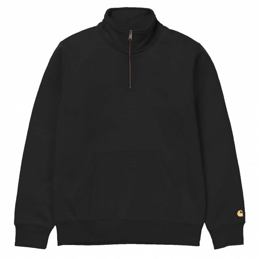 Carhartt Chase Neck Zip Sweatshirt - Black/Gold