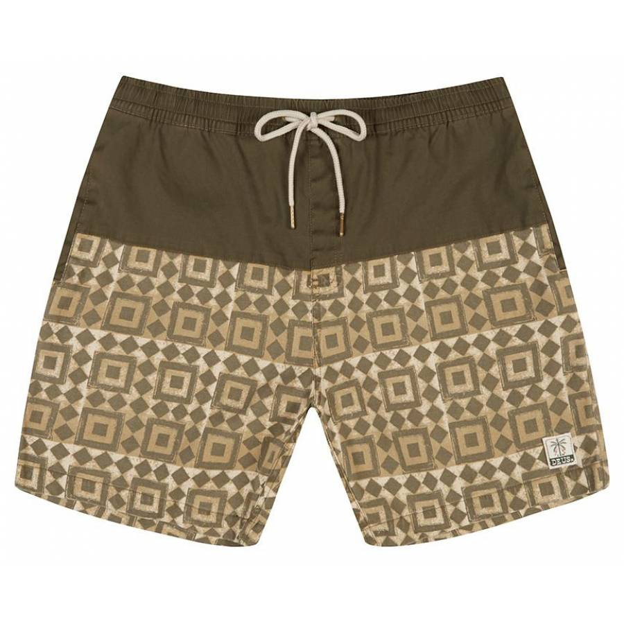 Deus Sandbar Breeze Blocks Boardshort - Dark Olive