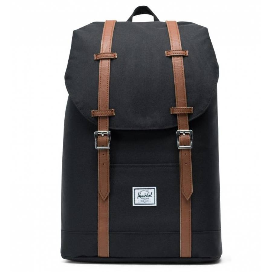 Herschel Retreat Mid Volume Backpack - Black / Tan Synthetic Leather