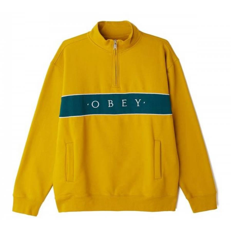 Obey Deal Mock Neck Sweatshirt - Mustard