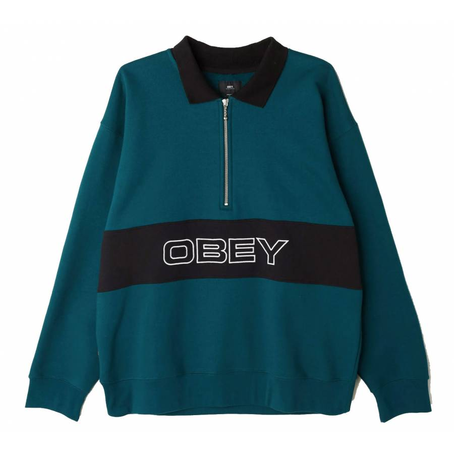 Obey Baron Zip Crewneck Polo Sweatshirt - Deep Tea...