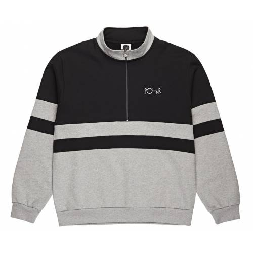 Polar Co Block Zip Sweatshirt - Black/Heather Grey