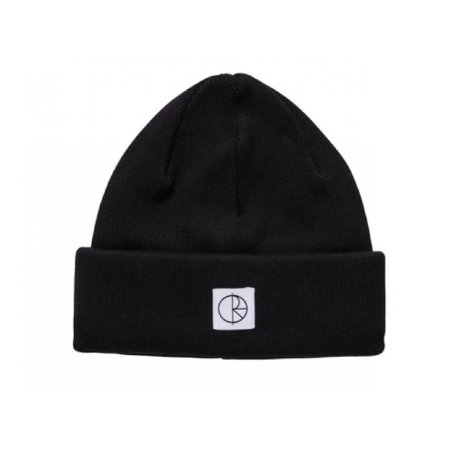 Polar Double Fold Cotton Beanie - Black