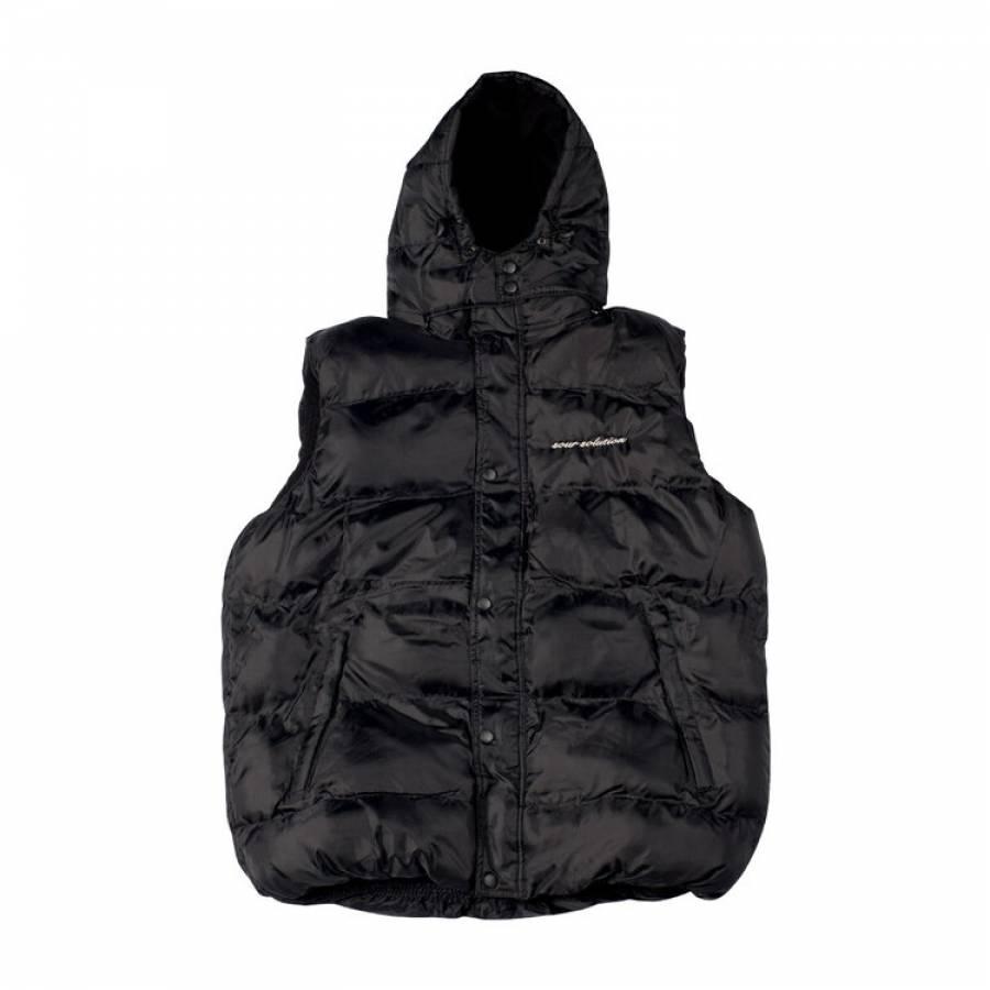 SOUR Big Puff Park Bench Vest Jacket - Black