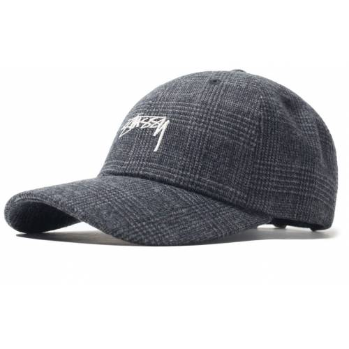 Stussy Glen Plaid Low Pro Cap - Black