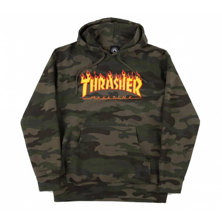Thrasher Flame Logo Hood Sweat - Forest Camo