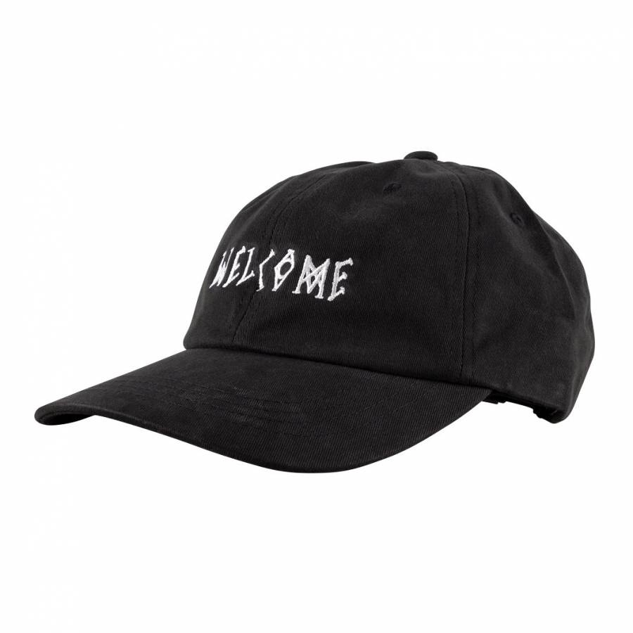 Welcome Scrawl Peached Twill Dad Hat - Black / Whi...