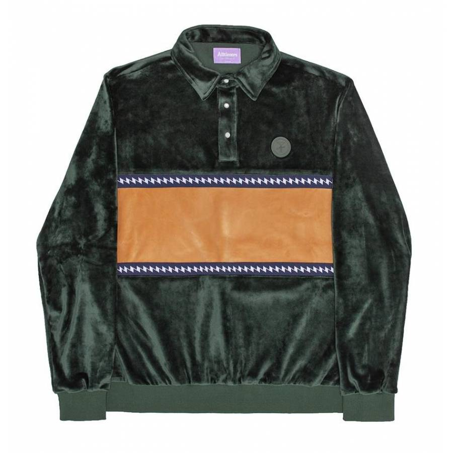 Alltimers J Waves Velour Top Sweat - Forest Green