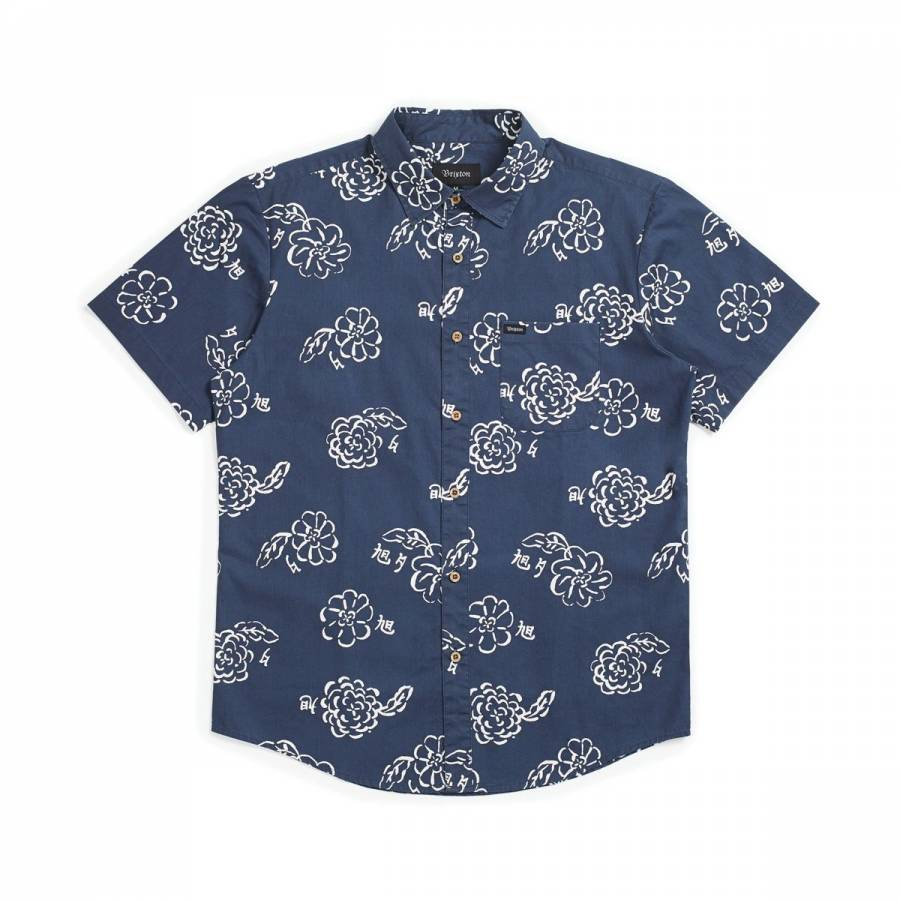 Brixton Charter Print S/S Woven - Navy / Off White