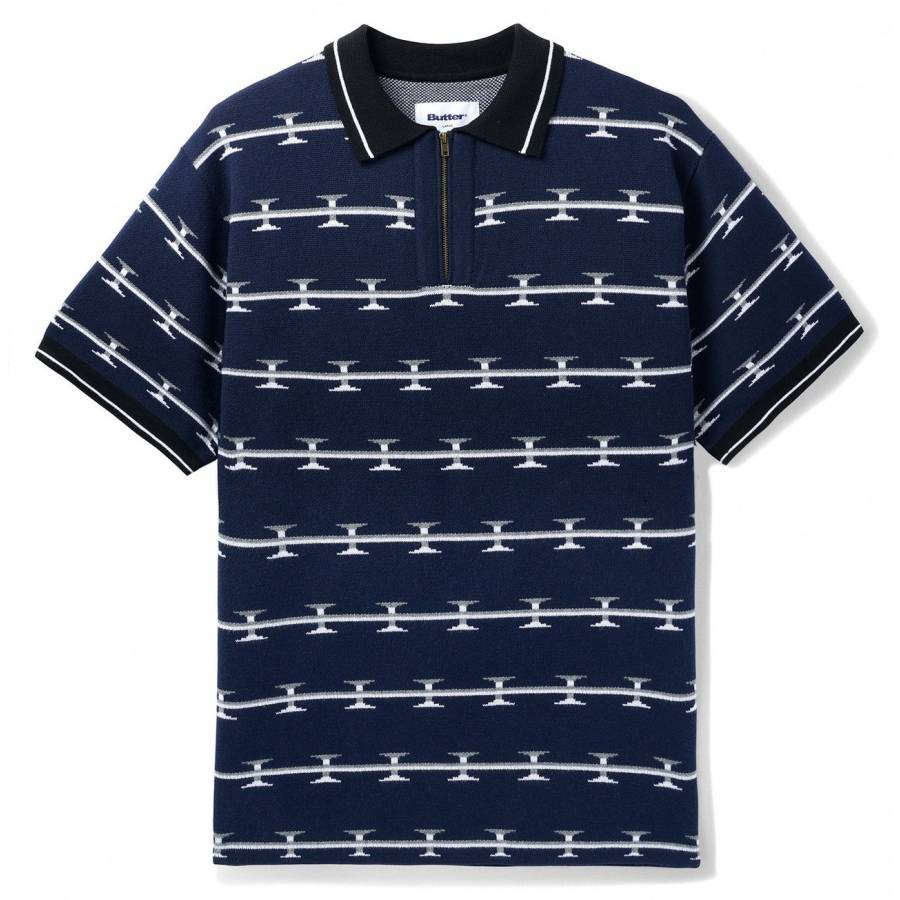 Butter Razor Zip Polo - Navy