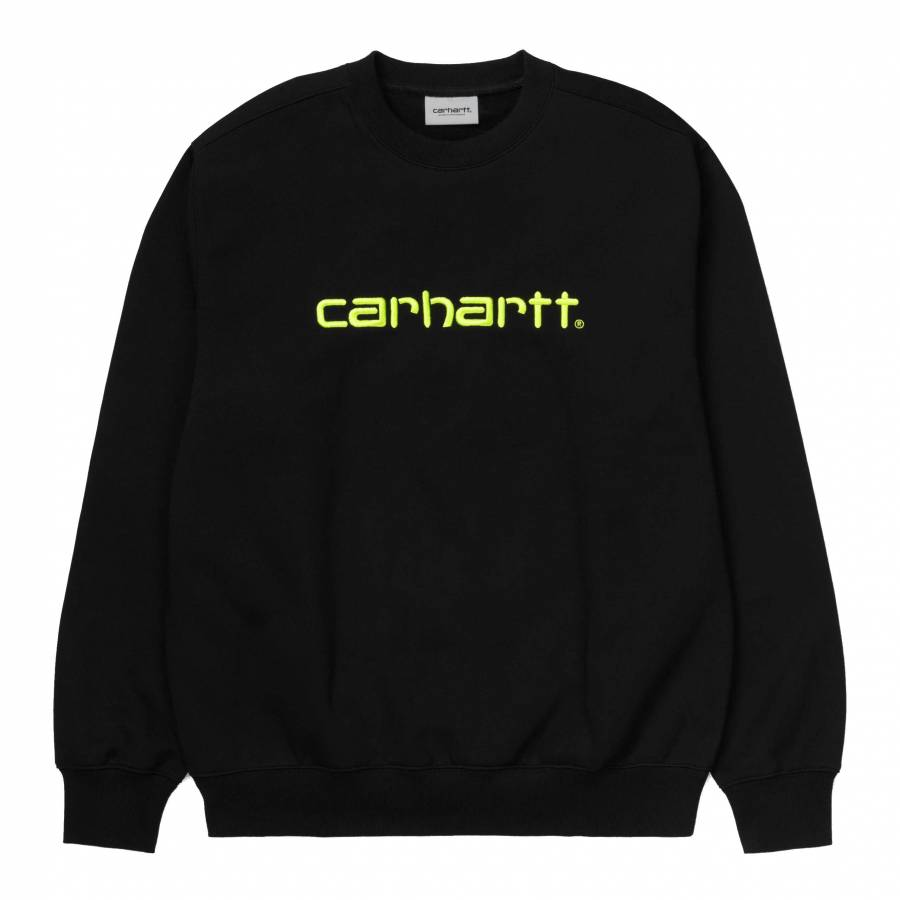 Carhartt Sweatshit Sweat - Black / Lime