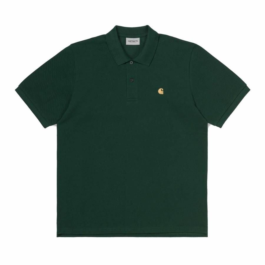 Carhartt Chase Pique Polo - Bottle Green / Gold