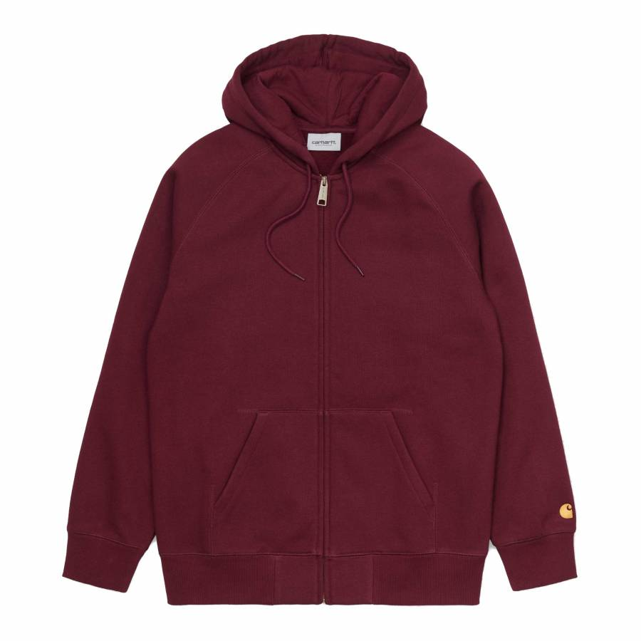 Carhartt Hooded Chase Jacket - Bordeaux / Gold