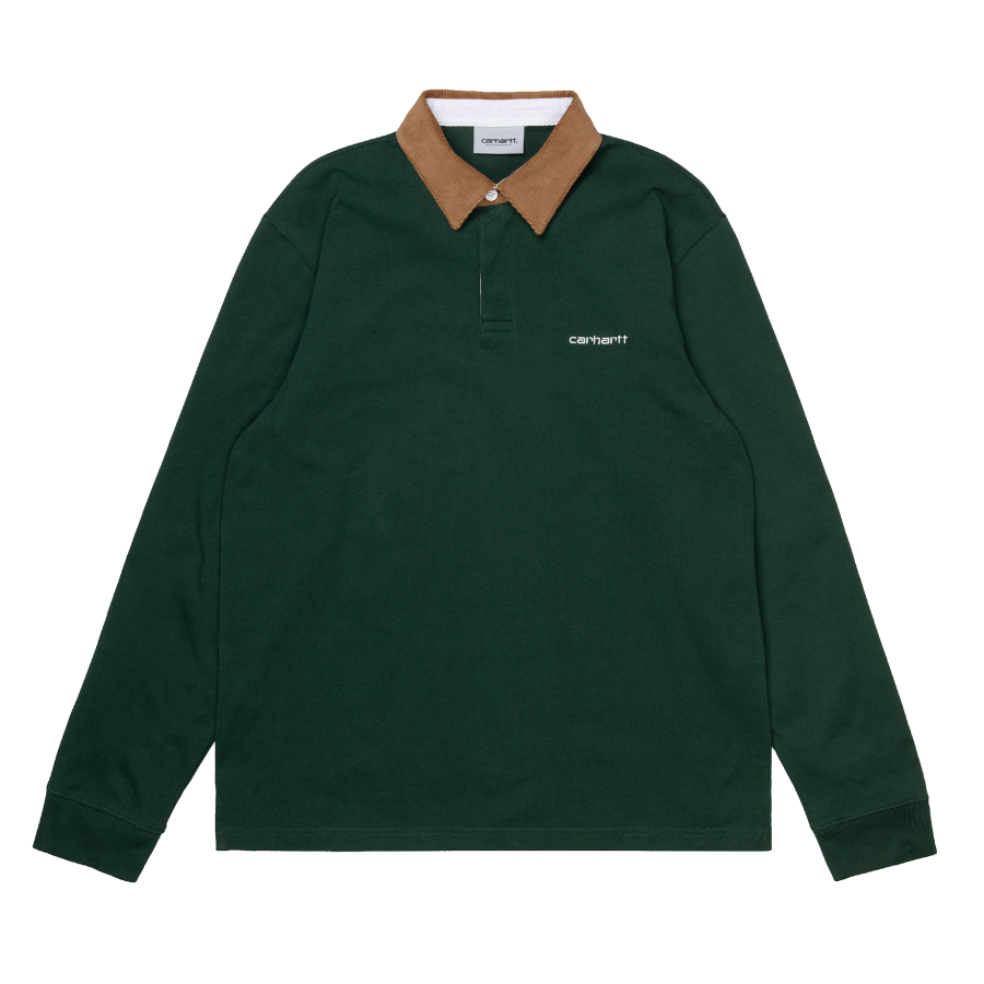 Carhartt L/S Cord Rugby Polo - Bottle Green / Hami...