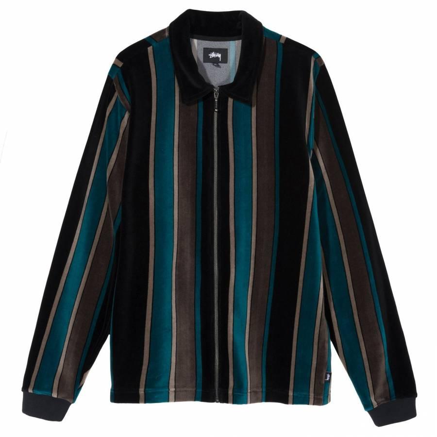 Stussy Roland Stripe LS Full Zip- Black