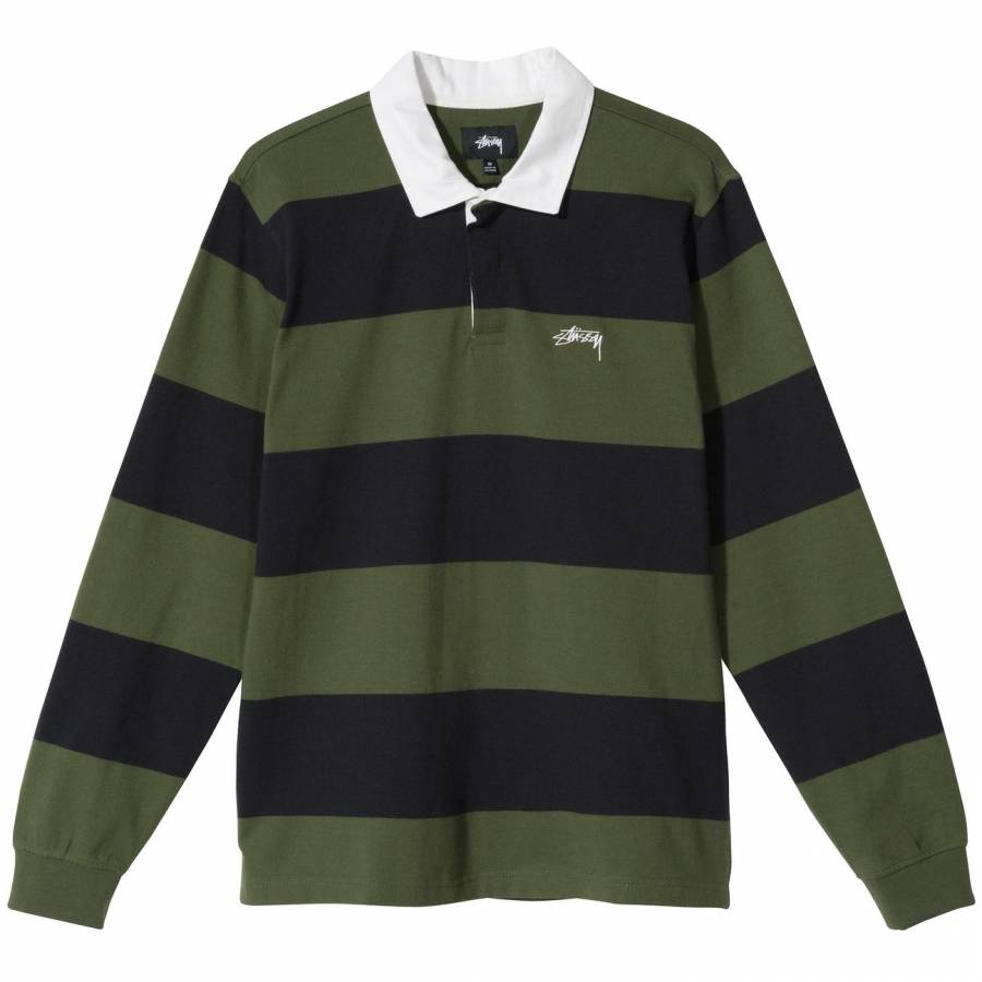 Stussy Classic Stripe Rugby Sweatshirt - Black