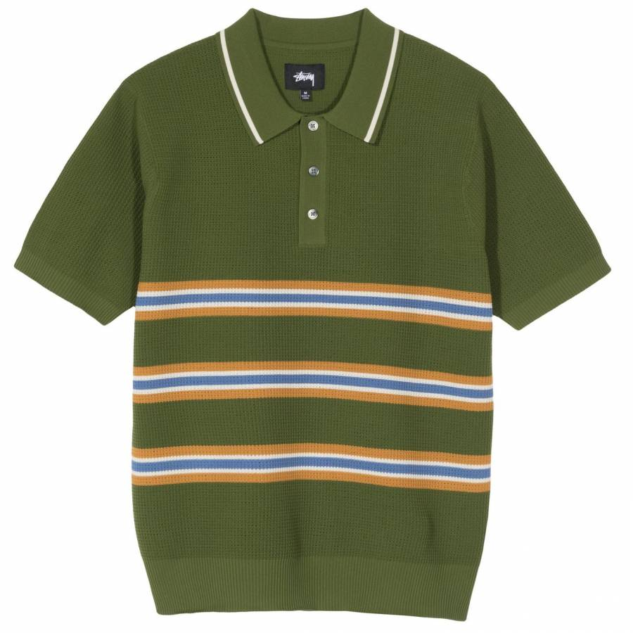 Stussy Montego Stripe Polo - Green
