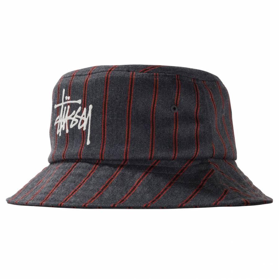 Stussy Big Logo Striped Bucket Hat - Charcoal