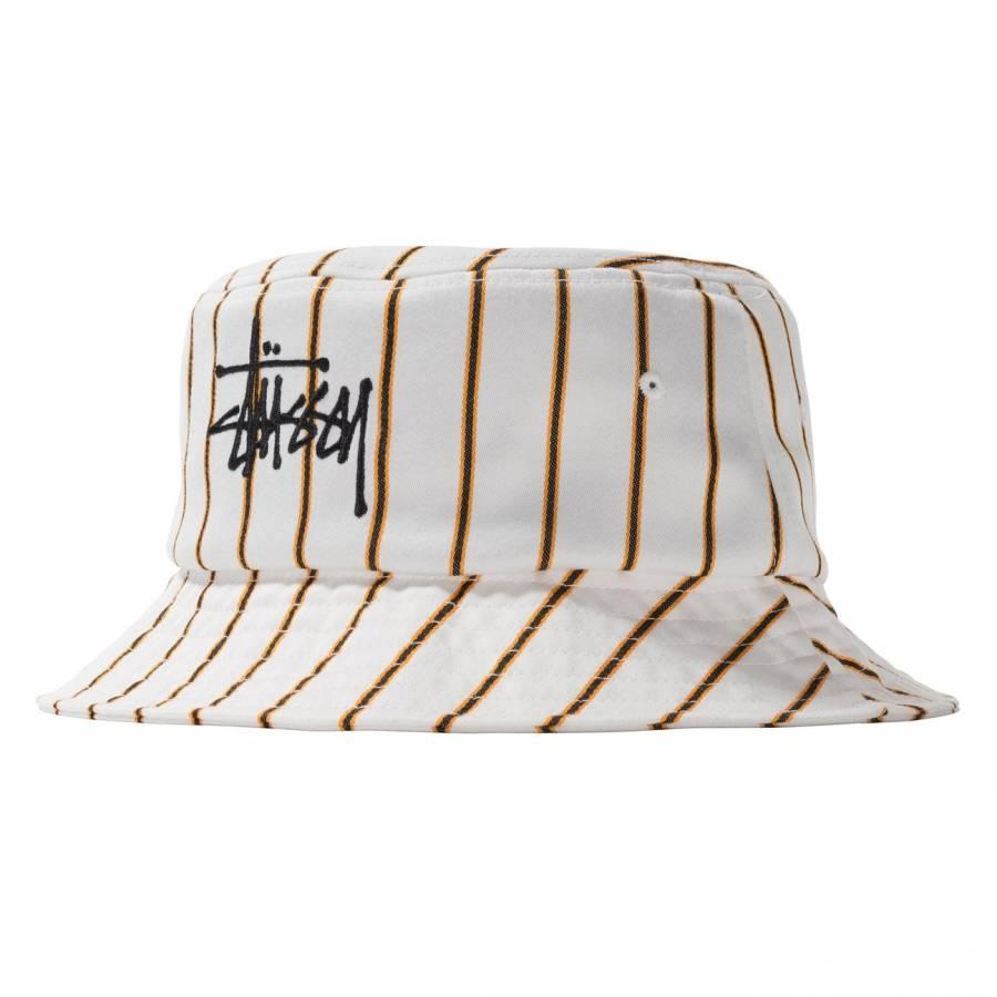 Stussy Big Logo Striped Bucket Hat - Off White